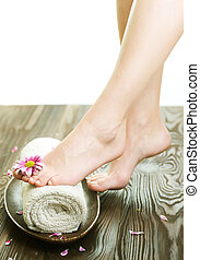 femme, jambes, concept., spa, fleur, beau