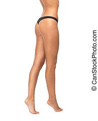 femme, jambes, culotte, bikini, noir