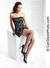 femme, jambes, dans, noir, collants