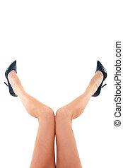 femme, jambes, fermé