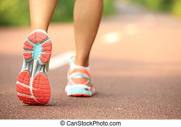 femme, jambes, jeune, fitness, courant