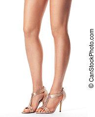 femme, jambes, jeune, sandales
