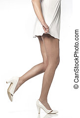 femme, jambes, mince, long