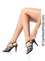 femme, jambes, talon, toucher, pied, beau