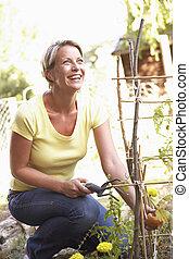 femme, jardin, délassant