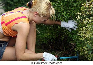 femme, jardin, fonctionnement