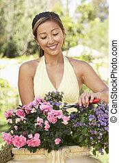 femme, jardin, fonctionnement, jeune