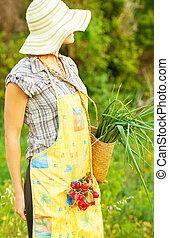 femme, jardinier, fonctionnement, heureux