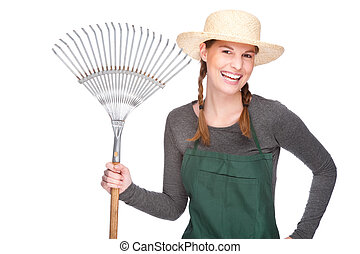 femme, jardinier