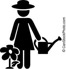 femme, jardinier, pictogramme