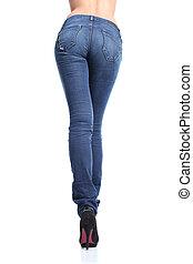 femme, jean, dos, long, poser, jambes, vue