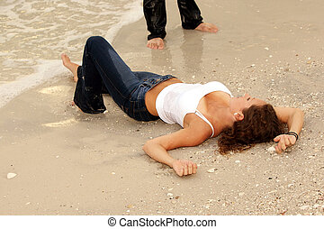 femme, jean, pose, mouillé, sexy, plage