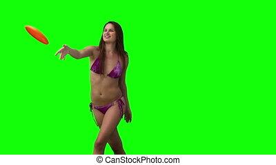 femme, jeu frisbee