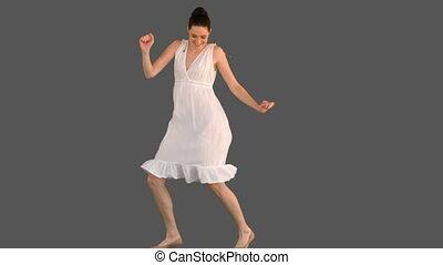 femme, jeune, élégant, robe, blanc