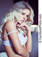 femme, jeune, blonds, sexy, blanc, soutien gorge