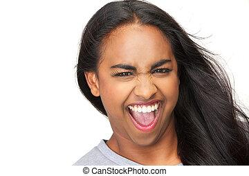 femme, jeune, bouche, portrait, ouvert, excité
