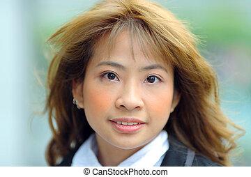 femme, jeune, business, asiatique