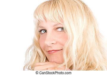 femme, jeune, cheveux, blonds