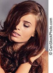 femme, jeune, cheveux, lustré, bunette, brillant, séduisant