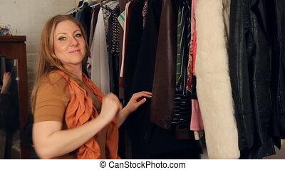 femme, jeune, clothes.