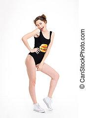 femme, jeune, concepteur, mignon, agréable, espadrilles, swimwear, blanc
