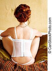 femme, jeune, corset