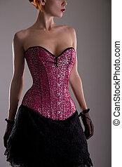 femme, jeune, corset, séduisant, pourpre