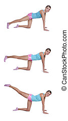 femme, jeune, cuisse, dos, exercices
