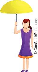 femme, jeune, dessin animé, parapluie, icône, style, jaune