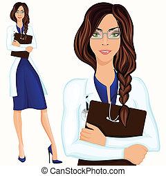 femme, jeune docteur