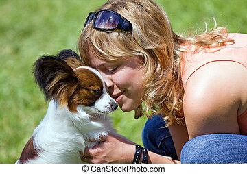 femme, jeune, elle, chien