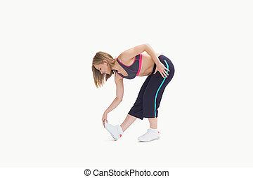 femme, jeune, exercice, étirage