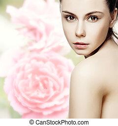 femme, jeune, fond blanc, propre, peau, femme, poser, beau, face., joli