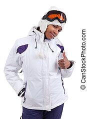 femme, jeune, haut, noir, pouces, confection, ski, vêtements