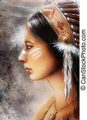 femme, jeune, indien, peinture, airbrush