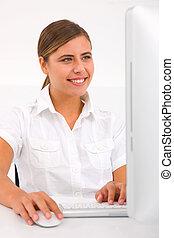 femme, jeune, informatique, portrait, utilisation, heureux