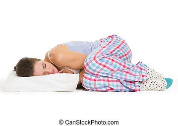 femme, jeune, isolé, dormir, blanc, pyjamas, oreiller