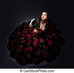 femme, jeune, isolé, poser, déguisement, flamenco