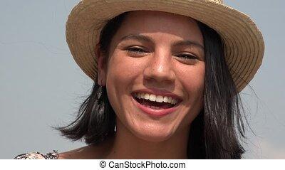 femme, jeune, joli, rire