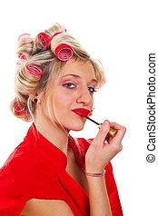 femme, jeune, joli, rouge lèvres
