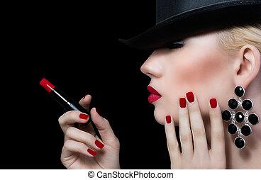 femme, jeune, lèvres, manucure, rouges, beau