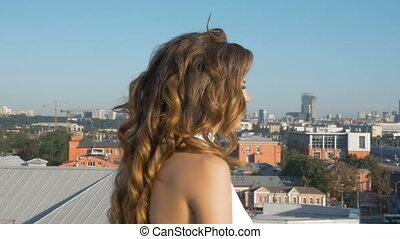 femme, jeune, long, hair., portrait, blanc