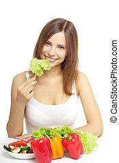 femme, jeune, manger, salade, sain, blanc
