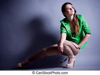 femme, jeune, mode, vêtements