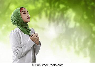 femme, jeune, musulman, Asiatique