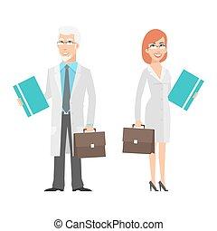 femme, jeune, personnes agées, scientifique, tenue, valise