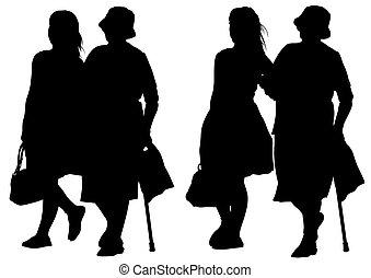 femme, jeune, personnes agées