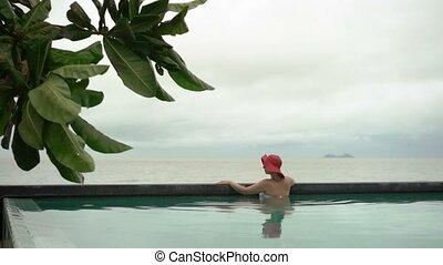 femme, jeune, piscine