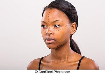 femme, jeune, plastique, africaine, chirurgie, avant