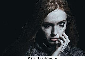 femme, jeune, pleurer